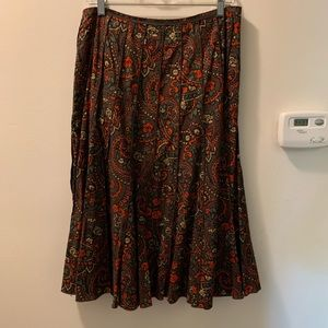 Harolds Fit & Flare  Cotton Paisley Print Skirt